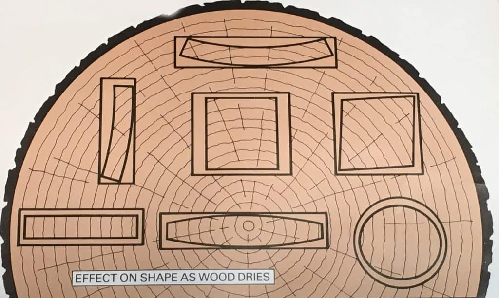 The effect on shape as wood dries