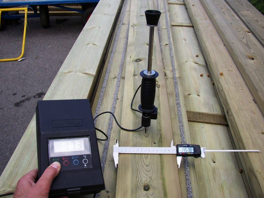 Check moisture content of deck boards before building the deck